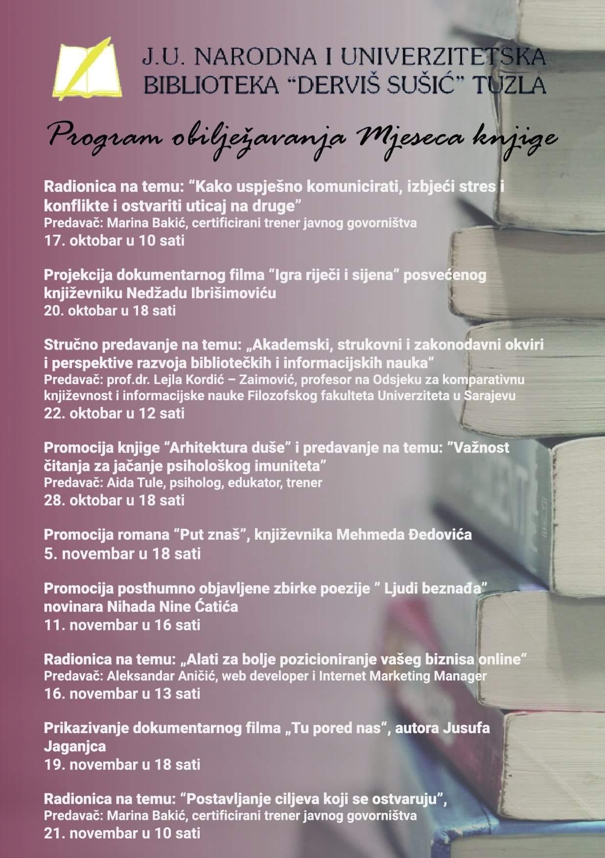 """Program obilježavanja  """"Mjeseca knjige"""" oktobar/novembar 2020. godine"""