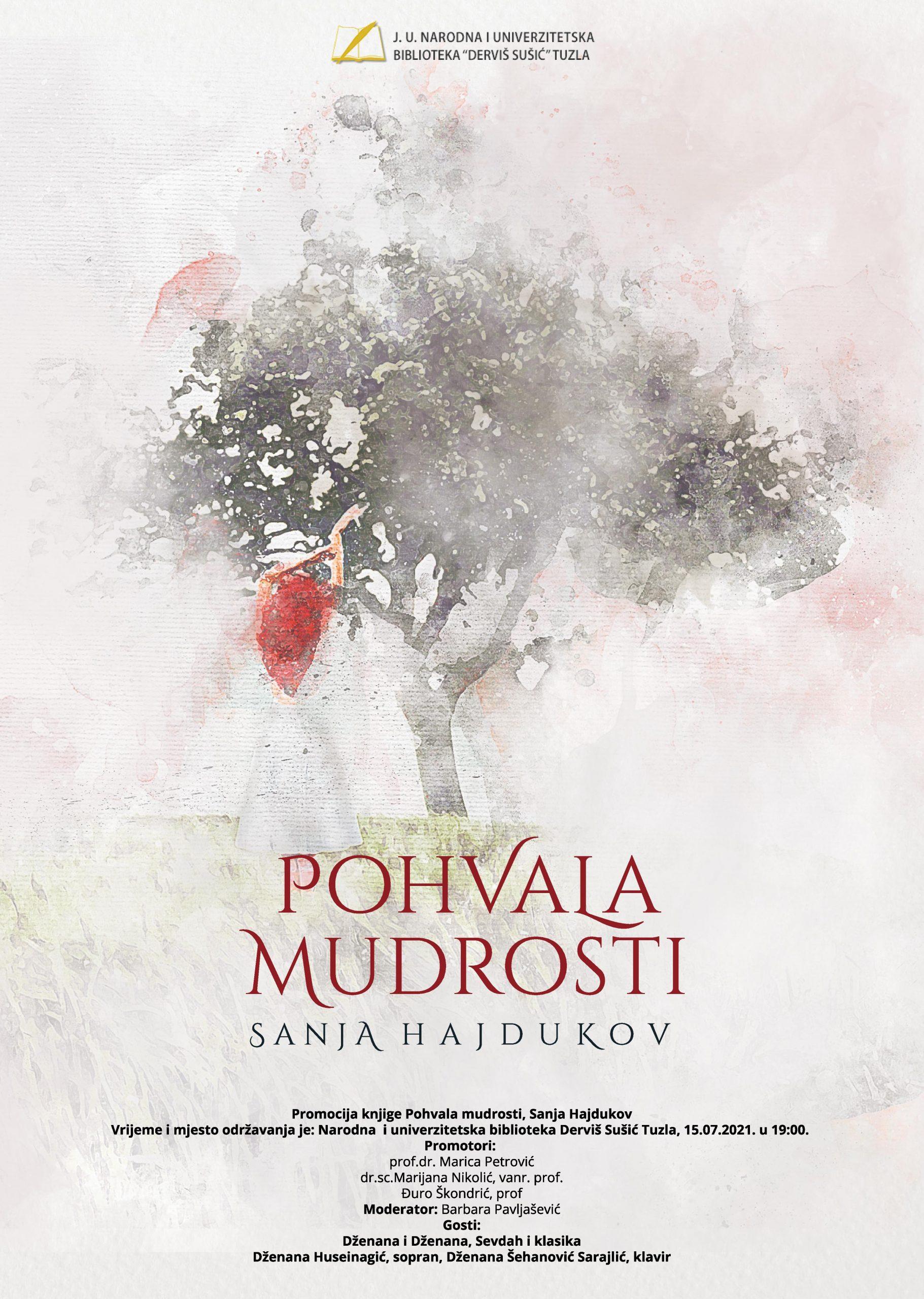Najava promocije knjige, autorice Sanje Hajdukov